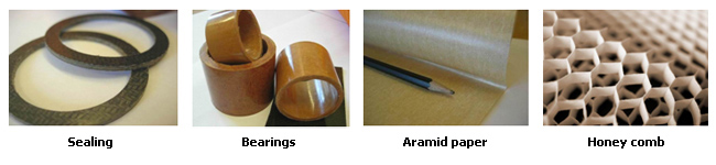 Arselon short cut and milled fibers for composites, sealings, bearings, paper and honey comb structures
