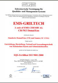 EMS Griltech ISO 9001:2000 certificate
