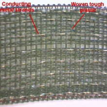Example of a high density (HDPE) polyethylene monofilament fabric for fencing tapes and ropes