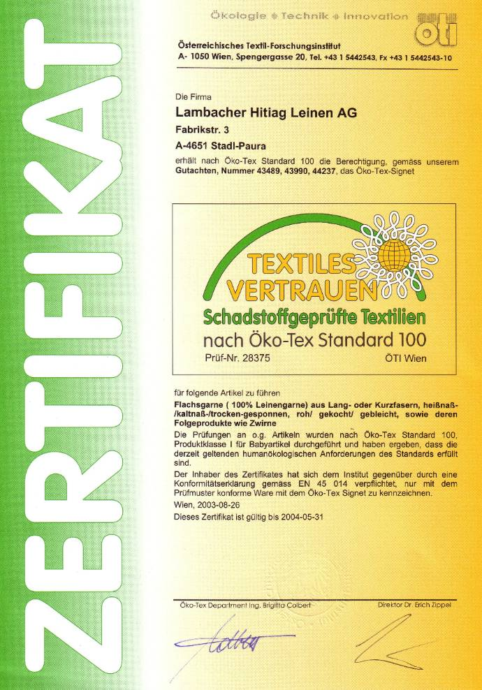Lambacher line and flax tow yarns are Oekotex certified