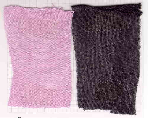knitted fabrics produced from paper yarn