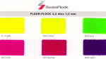 Fluorescent colors in cut flock for fashion and other applications