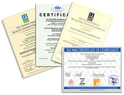 Quality certificates of Teadit Austria - supplier partner for PTFE yarns and fibers