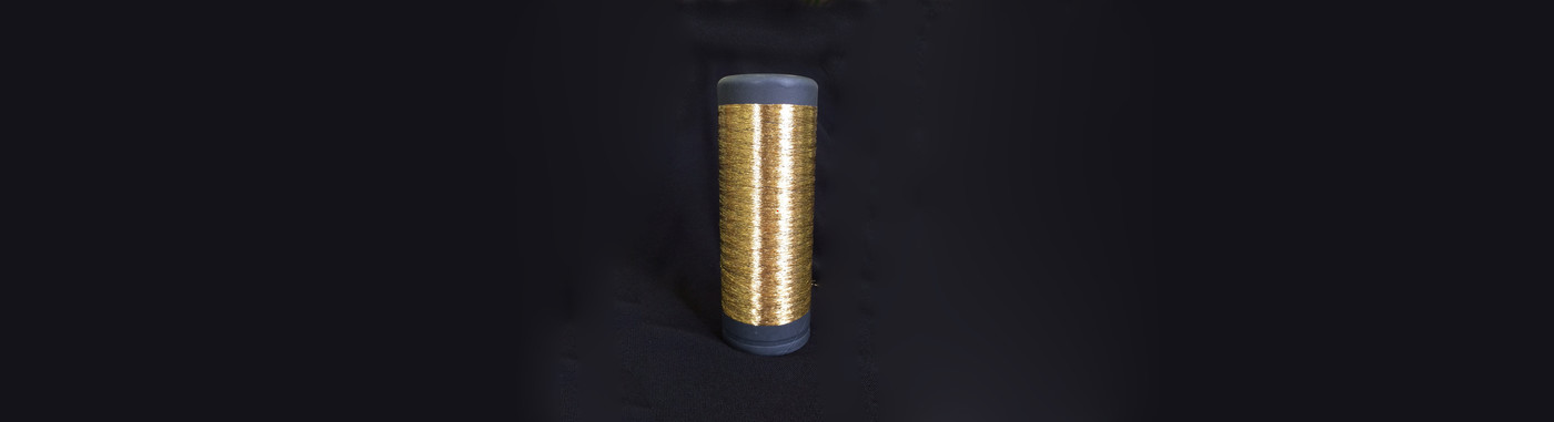 Plasma 24K Gold coated Polyester FDY yarn in various counts available from stock service