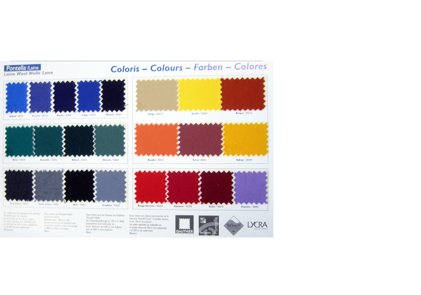 Colour range for the pontella wool fabric line