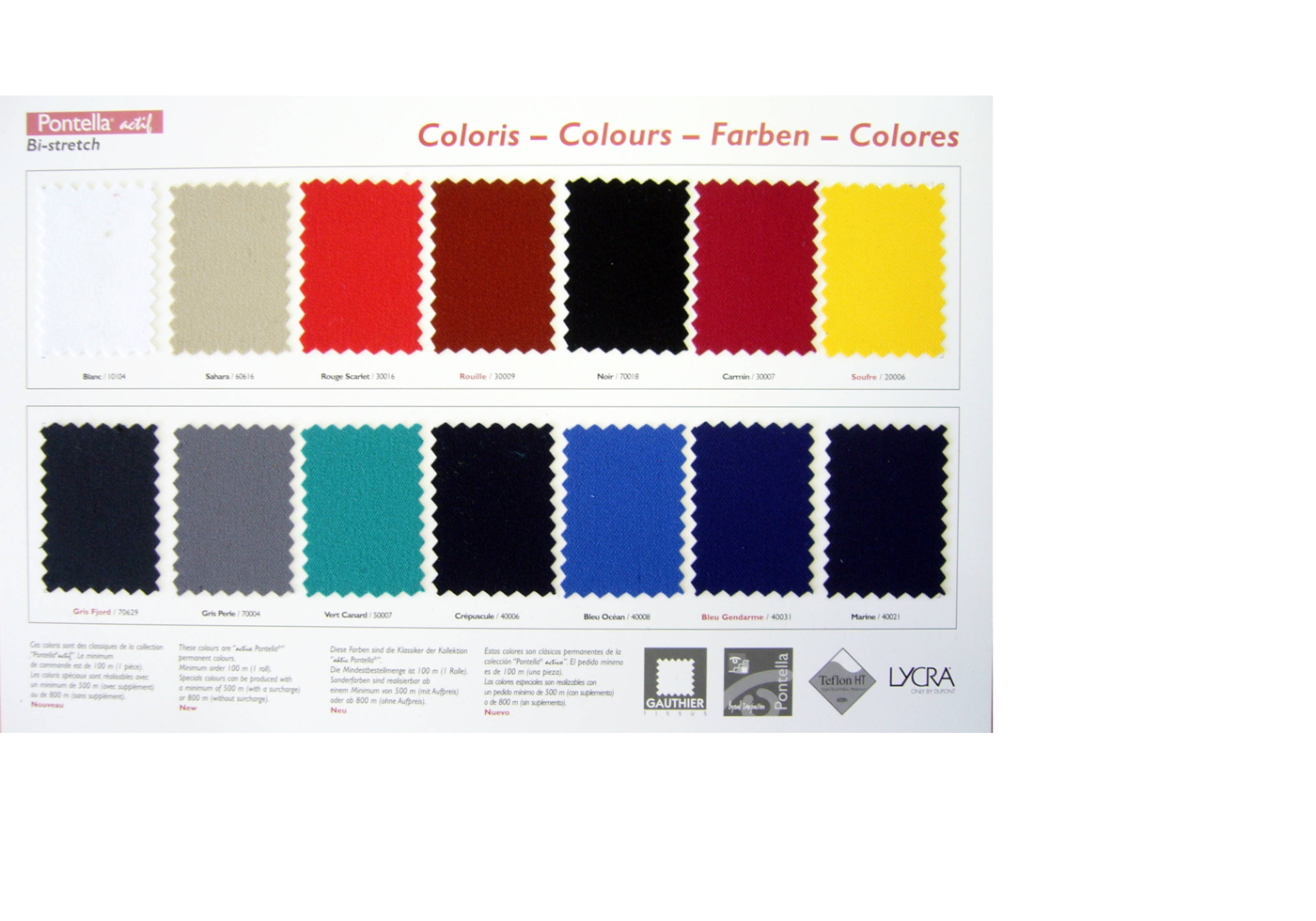 Colour range of Pontella actif fabrics