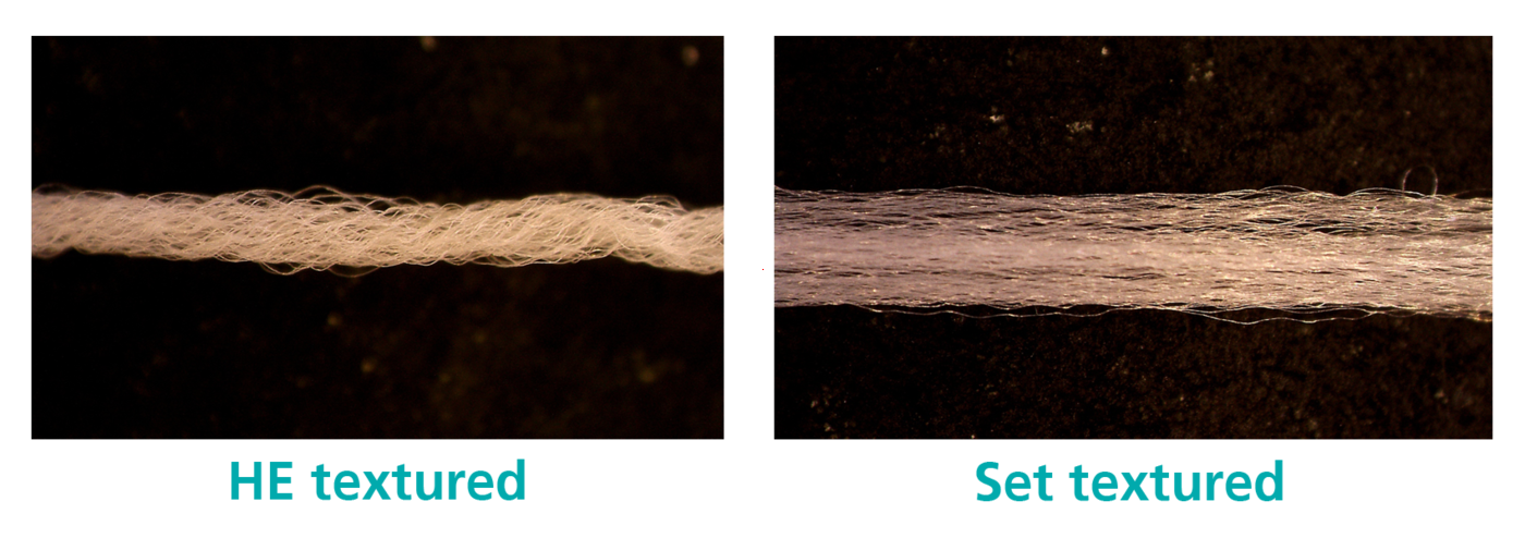 The difference between HE textured and Set textured yarn.